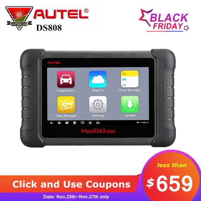 Special Price Autel MAXIDAS DS808 Automotive Scanner OBDII OBD2 Auto Car Diagnostic Tool ECU Programming with OBDI Connetor Upgraded of DS708