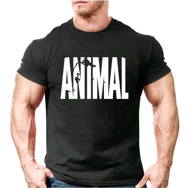 動物プリントトラックスーツ tシャツ男性筋肉 Tシャツトレンド綿 2017 ブランドボディービル Tシャツの服トップス