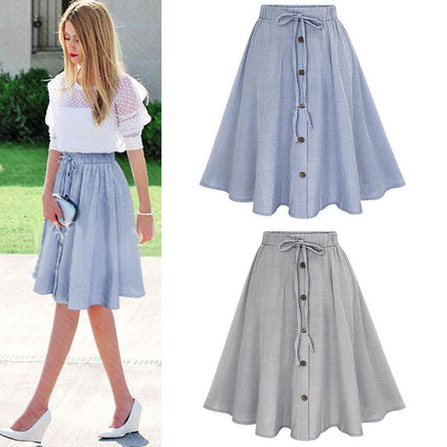 Summer Women Skirt Vintage Stripe Print Lace-up Button High Waist Skirts Gown Pleated Cotton Midi Knee-length Skirts Rokken