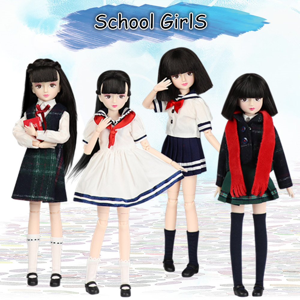 Xiaojing doll student series joint body bjd black hair including school uniform shoes 25cm ICY Blyth gifts