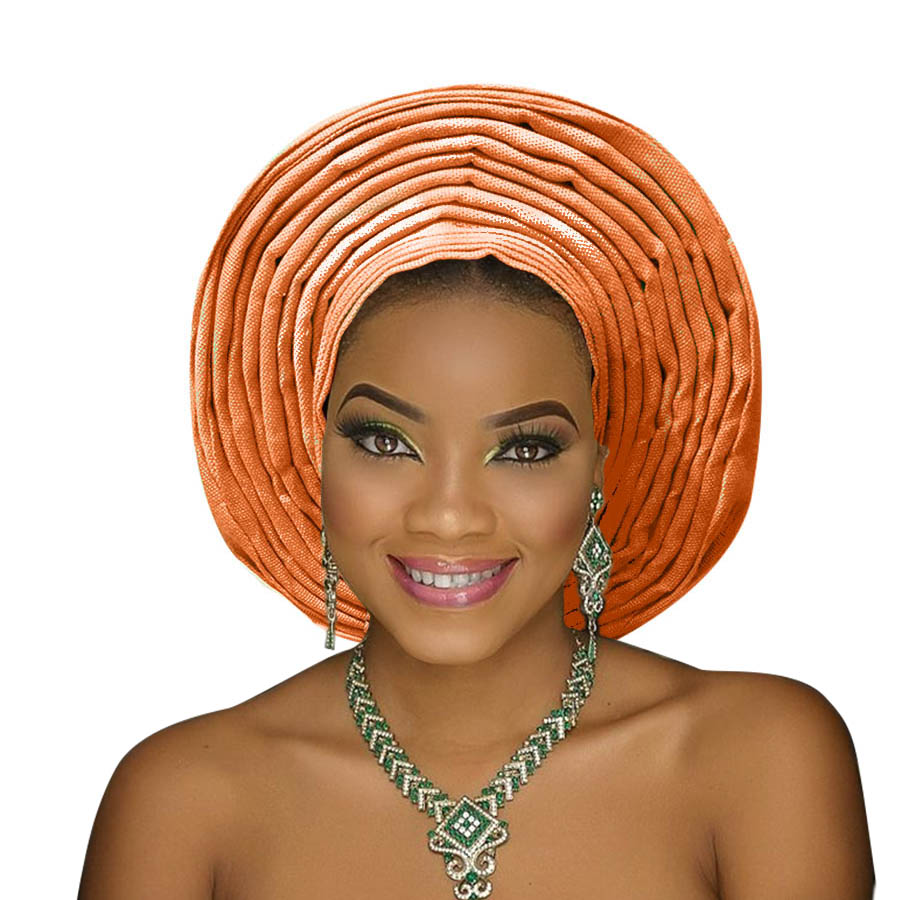 Traditional aso oke gele african headtie aso ebi head wrap for woman african turban headband already tied (2)