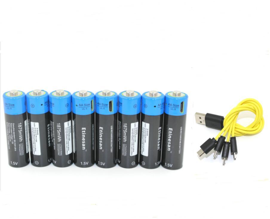 8pcs Etinesan 1 5V AA 1875mwh li polymer lithium li ion rechargeable battery micro usb for