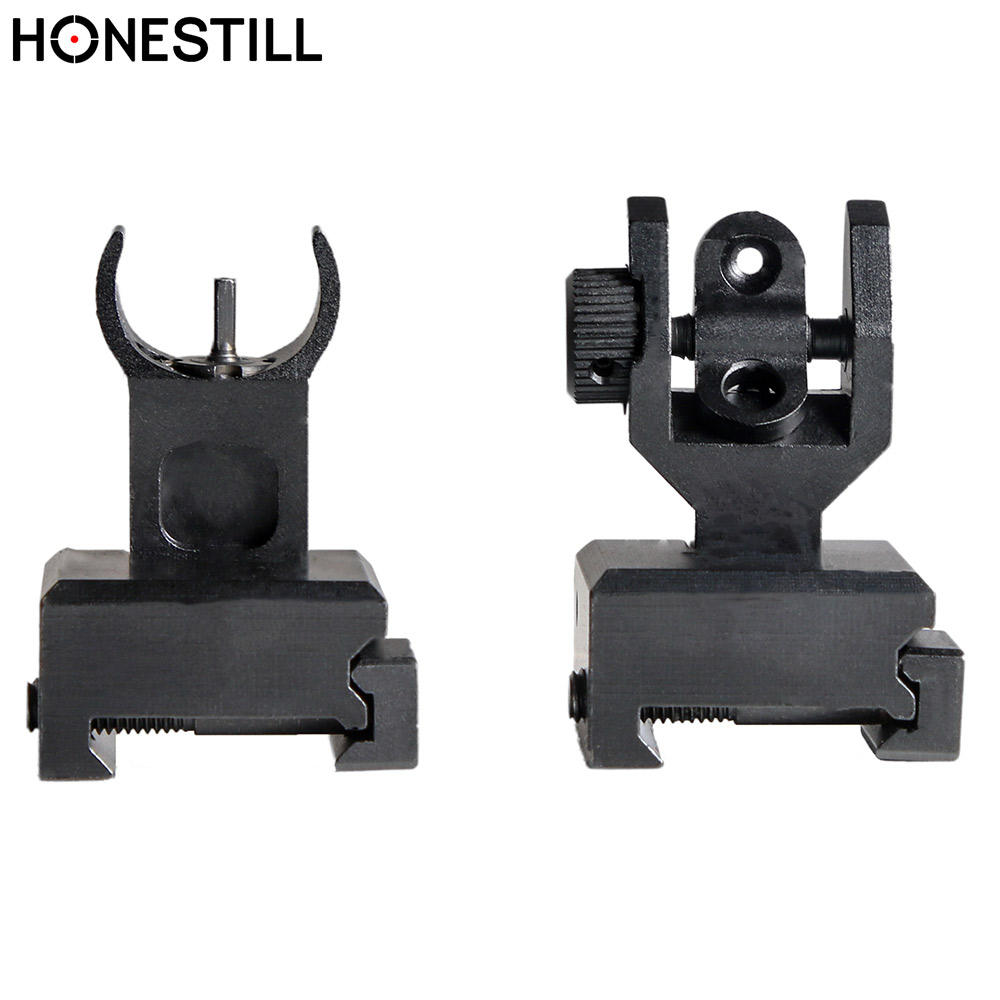 AR15 Tactical Front Rear Sight Iron Sights Set A2 Mil Spec Low Profile Airsoft Gun Folding Backup Sight Iron Sight Picatinny