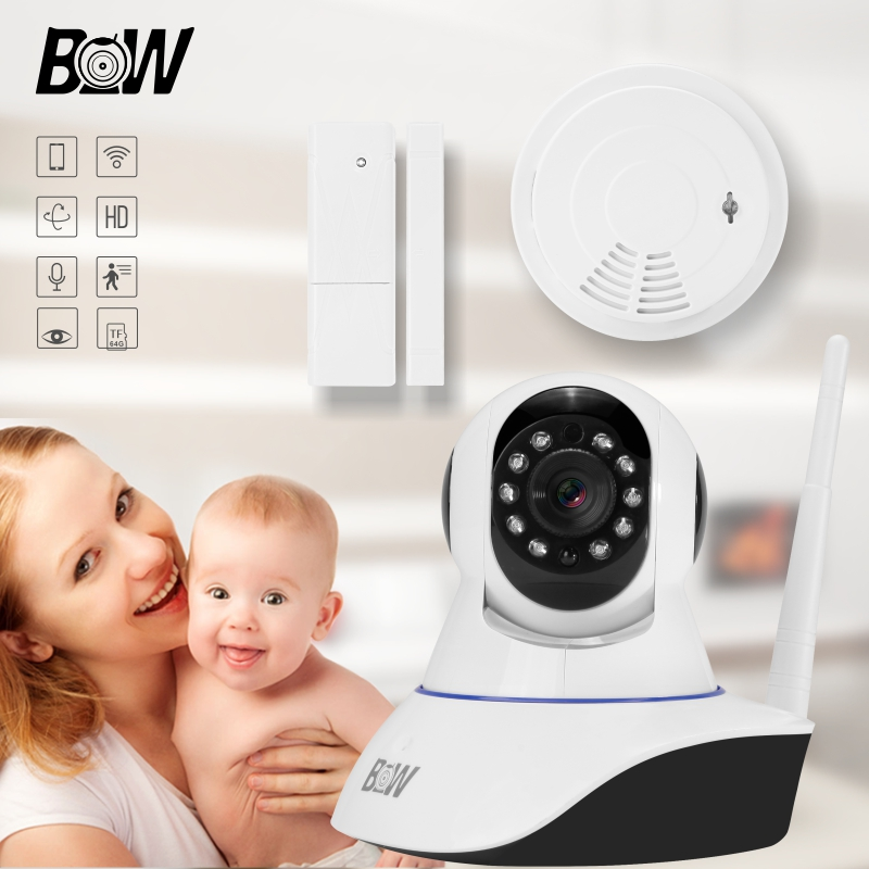 BW Wireless Wifi IP Surveillance Camera HD 720P + Door Sensor + Smoke Detector Security IR-Cut Filter Megapixel Lens GSM Alarm 1 pcs full range multi function detectable rf lens detector wireless camera gps spy bug rf signal gsm device finder