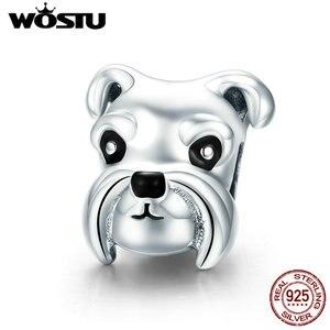 WOSTU оригинальный браслет из серебра 925 пробы с бусинами и шармами для собак и животных, кулон в подарок, CQC835
