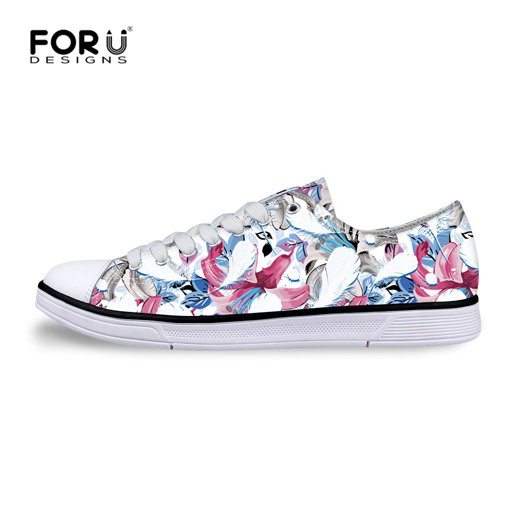 FORUDESIGNS Summer Women Casual Shoes,White Flower Print Ladies Classic Canvas Shoes,Woman Walking Flat Shoes chaussure femme e lov women casual walking shoes graffiti aries horoscope canvas shoe low top flat oxford shoes for couples lovers