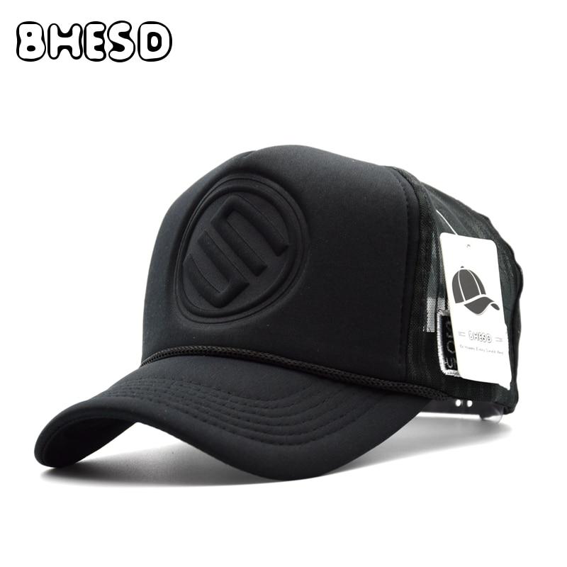 aba17b5440cc BHESD 2017 Mesh Baseball Cap Men Women Summer Black Trucker Hat Bone Sun  Bonnet Male Dad Hat Fitted hats Casquette Gorro JY388