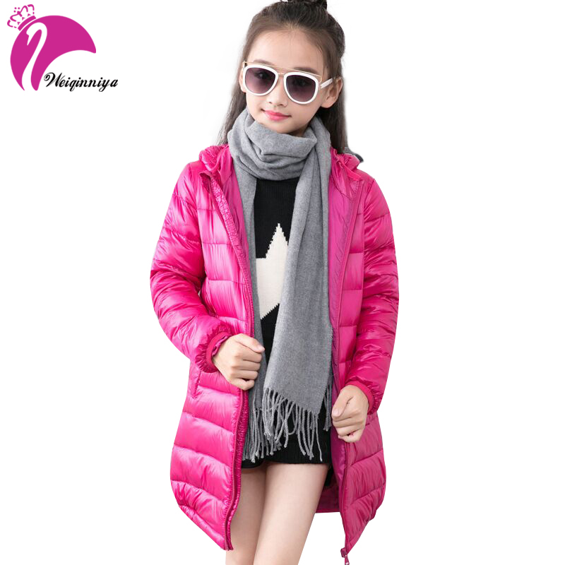 Children Girls Down Jacket & Coat New Brand 2017 Fashion Solid Hooded Cotton-padded Warm Winter Clothes Kids Long Coat Outwears brand fashion new 2016 winter children down