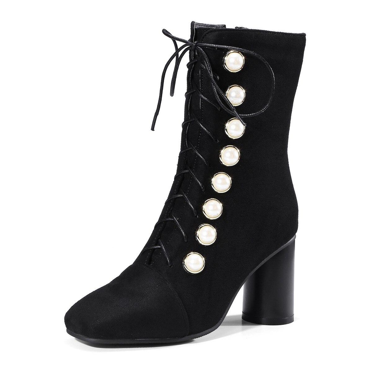 Femmes Bottines Chaussures red 2019 Black Rivet Bottes Hiver Troupeau À Carré D'hiver Velours Talons Lacets Pour Chaussette Zipper ALR45q3j