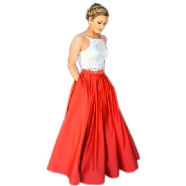 889ead29ee9 placeholder Formal Style Red Full Length Skirt Personalized Zipper  Waistline A Line Floor Length Long Maxi Skirt