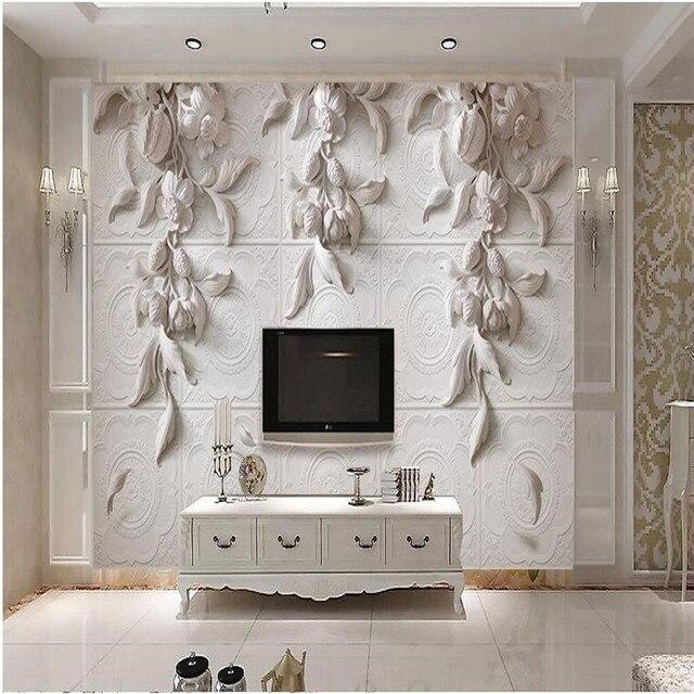 Peinture Moderne Pour Salon Fond Photographie HD Fleurs Blanches En Relief  Arts Visuels Hôtel Badroom Mur