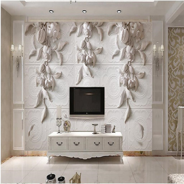 Modern Painting For Living Room Background Photography HD White Flowers  Embossed Visual Arts Hotel Badroom Wall