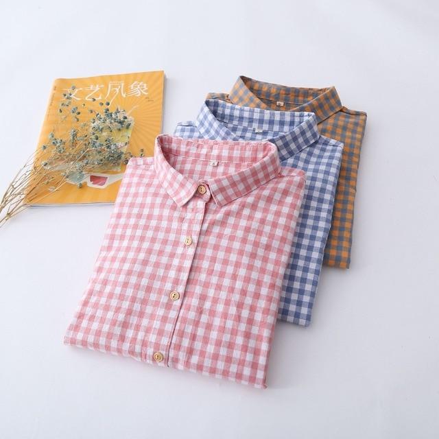 Camisas Femininas Blusas 2017 Casual Loose Summer Tops Female Blue Pink Plaid Blouse Shirt Girls Boho blouse ladies office shirt