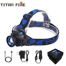Waterproof LED Headlamp 8000LM Built-in Battery Headlight Rechargeable Flashlight Q5 Rotary Zoom 3 Modes Fishing Camping Cycling