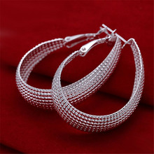 New Listing women lady gift lovely silver plated Hoop Earrings hot selling High quality fashion jewelry Free shipping