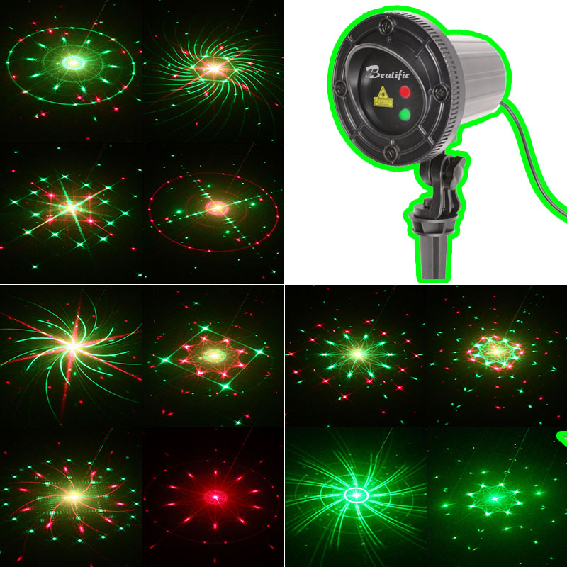 Christmas Lights Outdoor Star Laser Projector Fairy Showers Light 24 Patterns Motion RF Remote Waterproof New Year Decorations ...