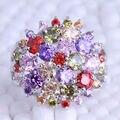 Flor Multicolor Cubic Zirconia Platea Los Anillos Plateados, Tamaño 6/7/8/9 Envío de La Joyería J0608
