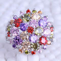 Multicolor Flower Cubic Zirconia Silver Plated Rings Size 6 / 7 / 8 / 9 Free Jewelry Bag J0608