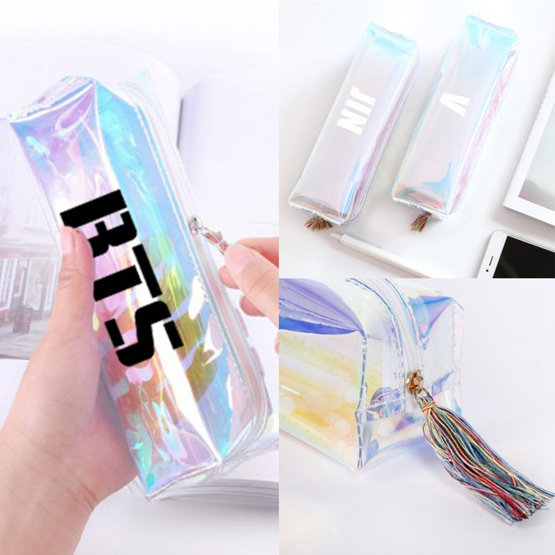 1 Pc Glitter K-pop BTS Bangtan Boys Colorful Rainbow Laser Pencil Case Member Name School Supplies PVC Stationery Pencil Box цена 2017