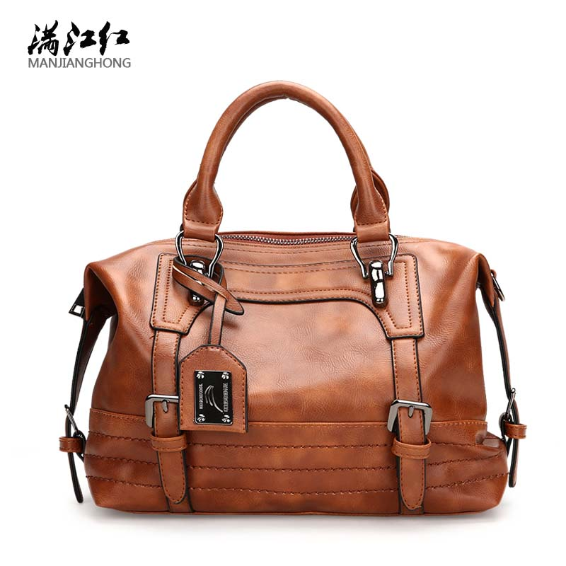 NEW oil leather bag ladies hand bags women leather handbags high quality designer thread woman bag famous brand sac a main 2017