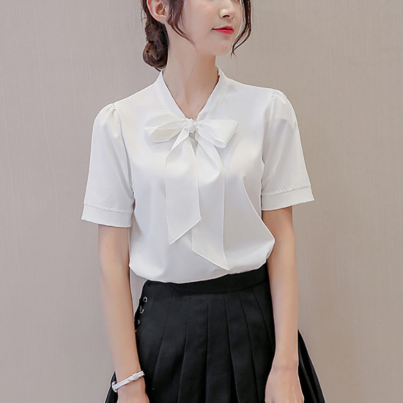 Loyal Mori Girls Summer Japanese Style Sweet Slash Neck Short Sleeve Bowknot White Embroidery Cotton Blouse Shirt Camisas Mujer Clients First Women's Clothing