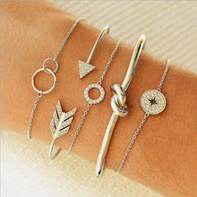 5 pieces each set of European and American fashion simple female personality circle knotted arrow opening geometric chain bracel цены