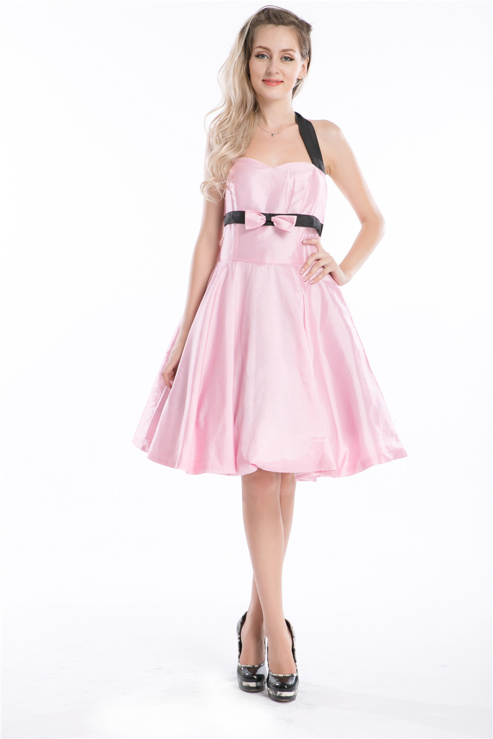Best Dress Womens Vintage 1950s 40s Pink Pinup Tea Dress