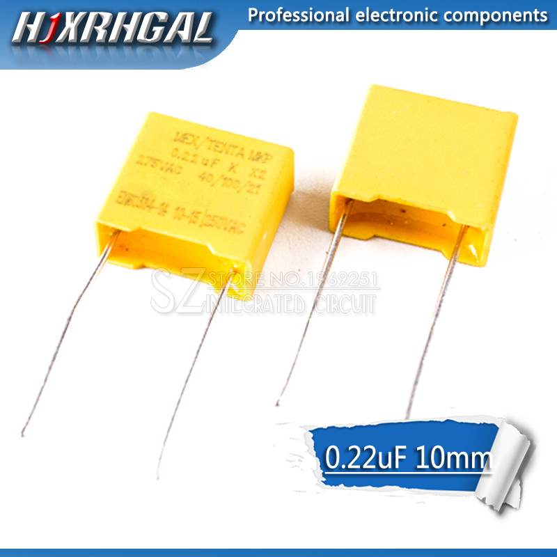 10pcs 220nF capacitor X2 capacitor 275VAC Pitch 275V 10mm X2 Polypropylene film capacitor 0.22uF hjxrhgal image