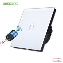 EU Standard 1gang 1 Way Waterproof Touch Switch,RF433 Smart Wall Switch,Luxury White Crystal Glass ,Wall Switch, Touch Switch