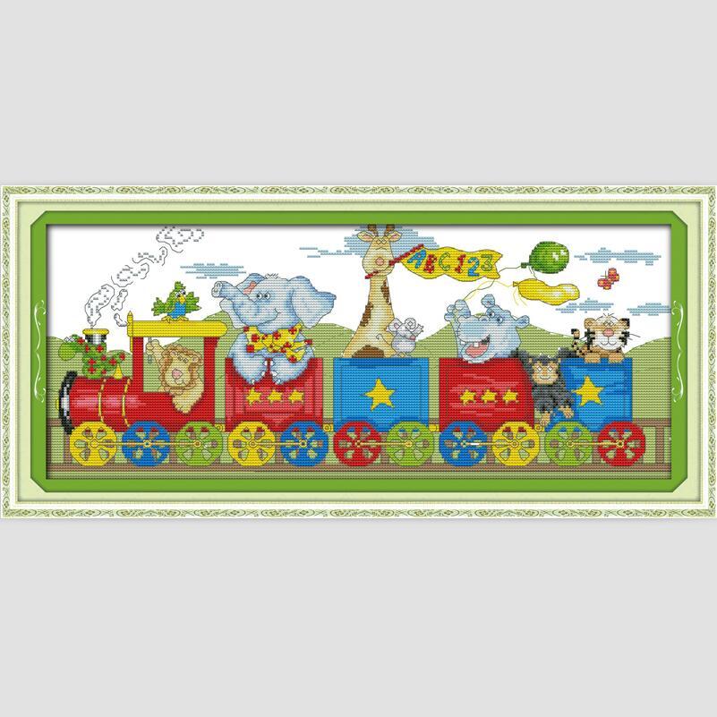 Cartoon animals train picture needlework set for