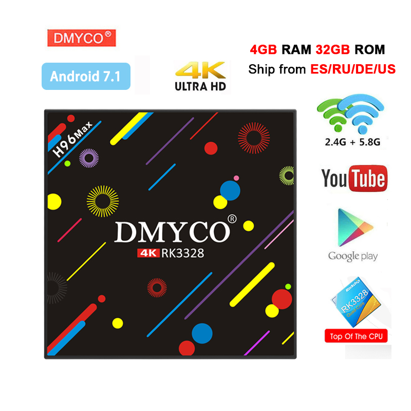 H96 Max H2 Android 7.1 TV Box 4GB+32GB RK3328 Quad Core 4K Smart Tv box VP9 HDR10 USB3.0 2.4G/5G WiFi Bluetooth 4.0 Media Player цены