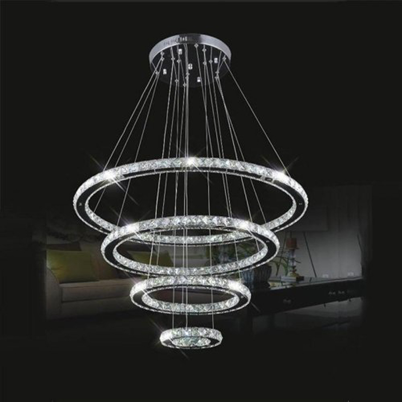 Modern Contemporary 4 Ring LED K9 Crystal Chandelier Pendant Lamp Suspension Light Lighting Fixture for Living Dining Room hghomeart modern chandelier light led contemporary gold crystal chandeliers lustre nursery suspension for living dining room