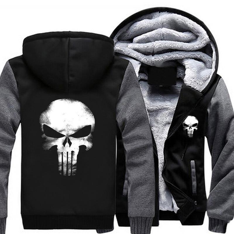 USA SZIE Punisher Skull Men's Jackets Winter Fleece Zipper Thicken Fleece Male Coat Men Hooded Hoodies Sweatshirts Outerwear