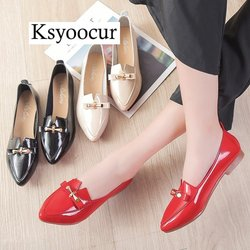 Ksyoocur brand Autumn Flats Women Shoes PU Leather Elegant Low Heels Slip On Footwear Female Pointde Toe Thick Heel J012
