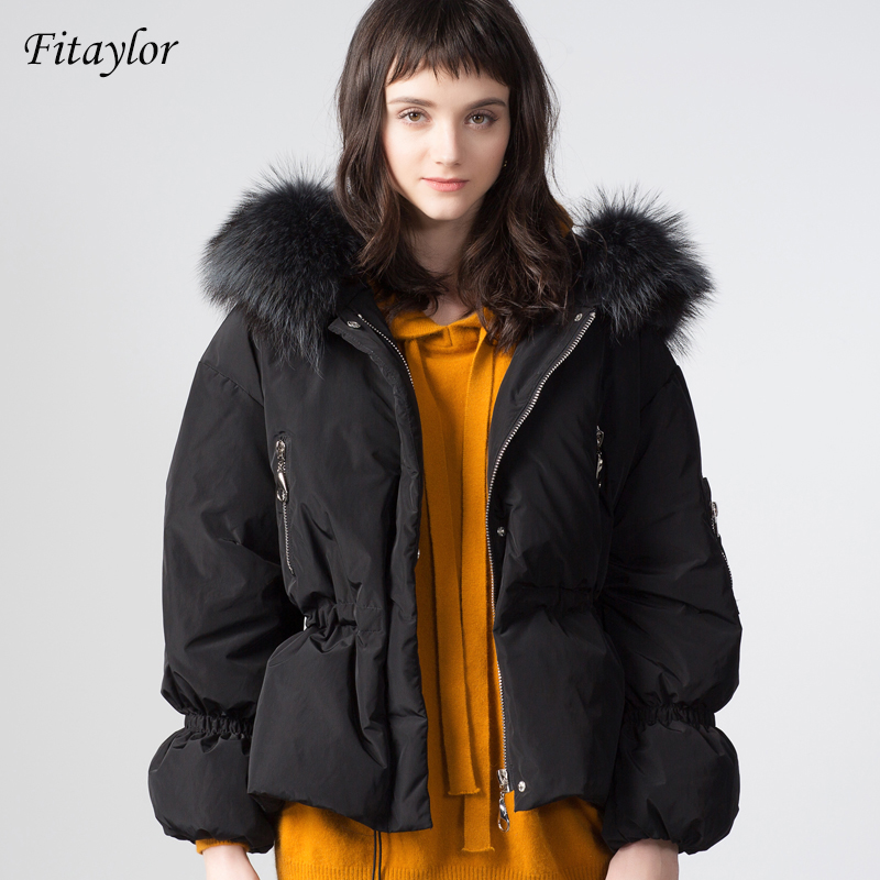 Fitaylor Women Large Natural Raccoon Fur Winter Jackets New White Duck Down Hooded Parkas Slim Warm Female Coat Snow Outwear