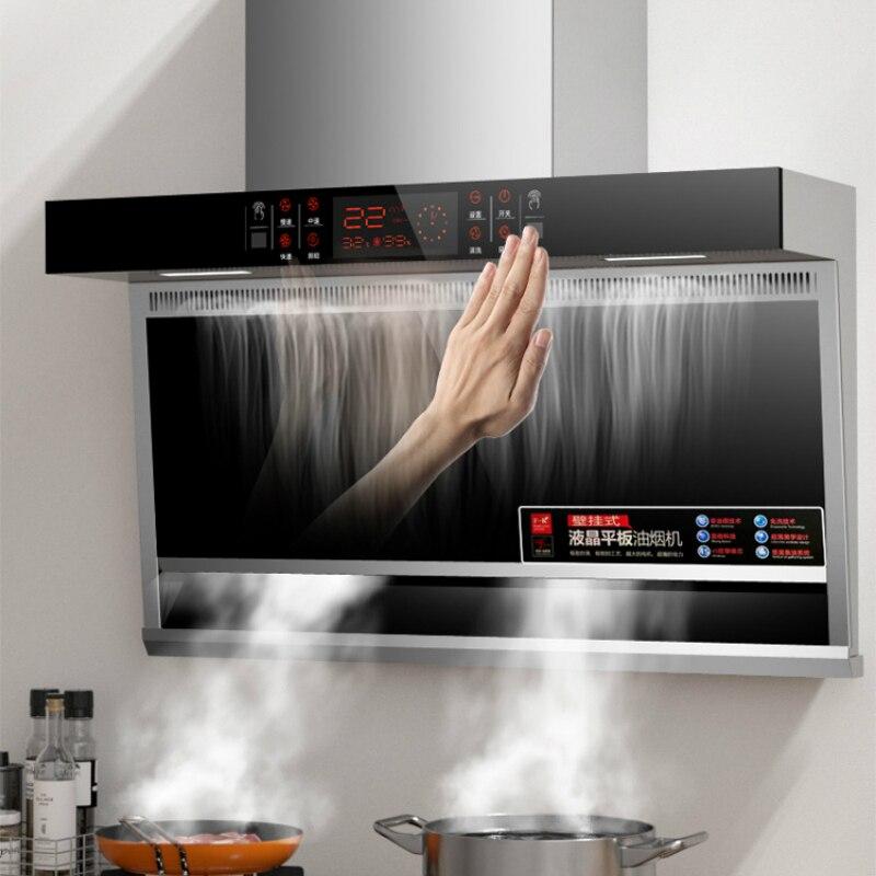 Grand levage automatique cuisine hotte aspirante hotte de nettoyage automatique Top et côté aspiration Sensation corporelle hottes intelligentes cuisine