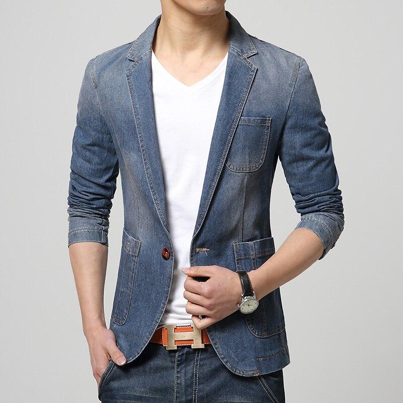 New Spring Fashion Blazer Men Jeans Suits Casual Suit Jean Jacket Men Slim Fit Denim