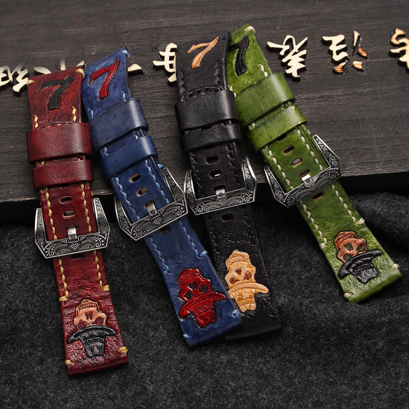MM 2017 NEW Men Italian handcrafted vintage leather watch strap and Carving decorative pattern For M M2 28MM dad carving vintage pocket watch