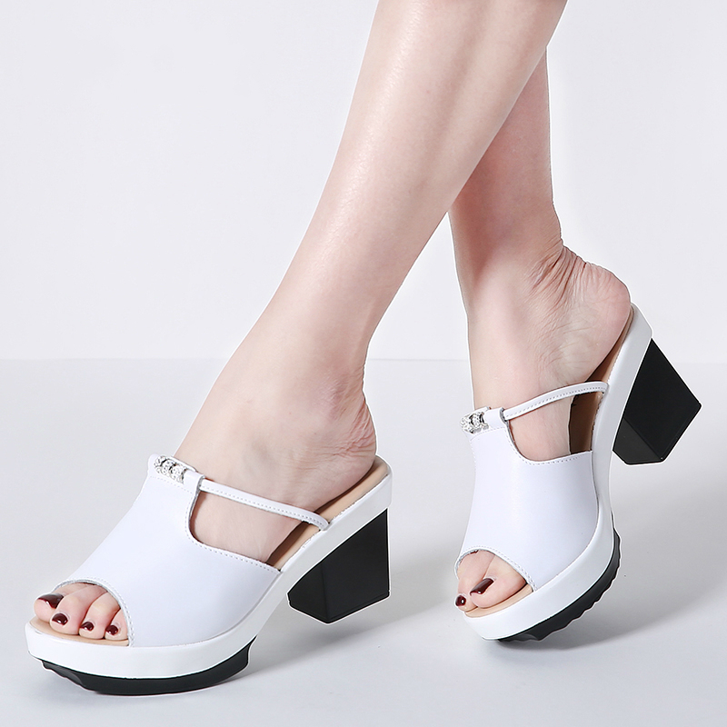 Women Sandals shoes Platform Genuine Leather Slip on ladies causal sandal high heel square heel fahion 2018 Summer New
