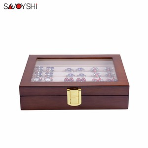 Image 5 - Glass Cufflinks Box for Men High Quality Painted Wooden Collection Display Box Storage 12pairs Capacity Rings Jewelry Box