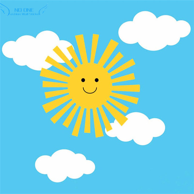 HOT Children Room Wall Art Decal Smiley Sun And Clouds Wall Sticker ...