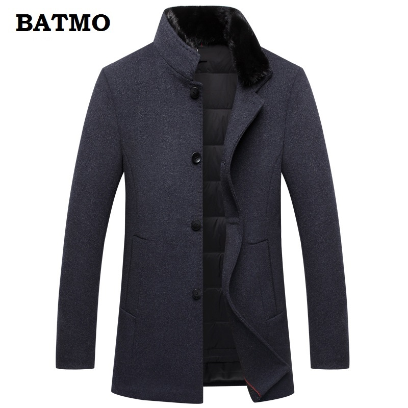 BATMO 2018 new arrival high quality 60% wool natural mink fur collar thicked trench coat men,90% white duck down liner