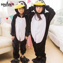 a83668abb23595c Дети животных Onesie пингвин пижамы черный фланель с длинным рукавом с капюшоном  пижамы зимние теплые мягкие для мальчиков и дев.