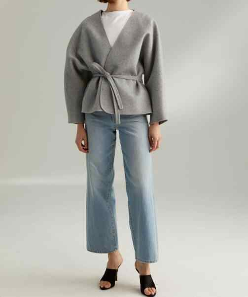 WOOL CASHMERE Lunel jacket grey Melange V-neck Wrap Coat Waist BELT TIed Drop shoulder OVERSIZED SHORT OVERCOAT