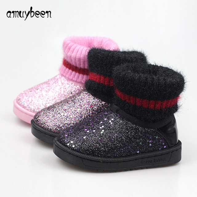 Amuybeen Winter Cold Children Snow Boots Sequined Girls Boys Boots Cotton  Padded Kids Martin Boots Christmas New Year Warm Shoes 5f5be8d9ff94