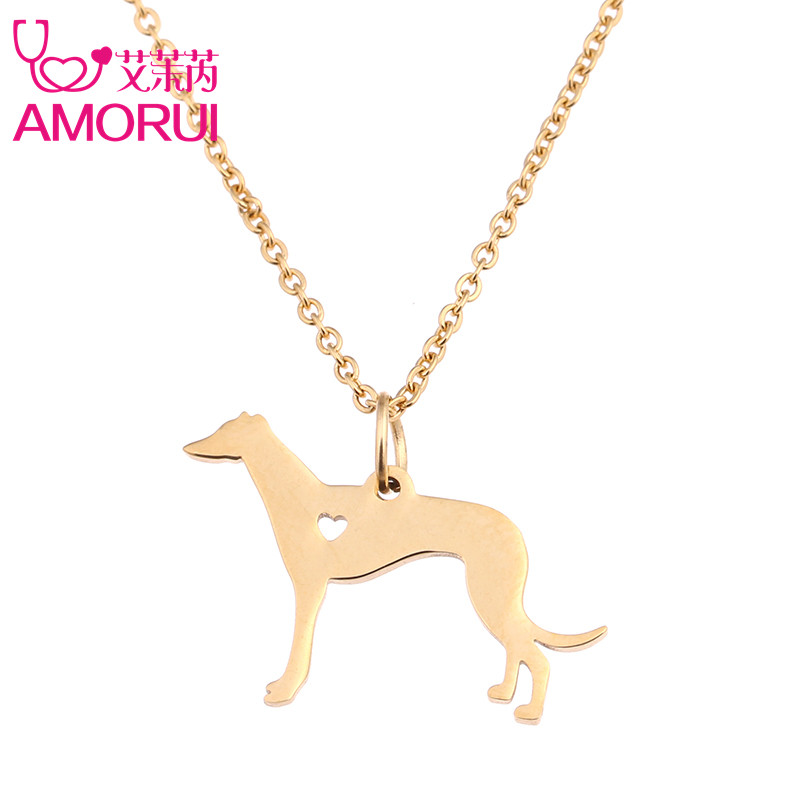 AMORUI Greyhound Dog Heart Pendant Chain Necklace Women Pet Jewelry Bijoux Pets Gold/Silver Color Breeder Dog Memorial Gift