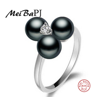 High Quality Pearl Jewelry 925 Sterling Silver Adjustable Black Pearl Ring With Triangle Crystal AAA Zircon
