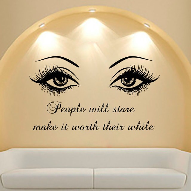 Wall Decal Quote Beauty Salon Make Up Girl Woman Decals Vinyl Wall ...