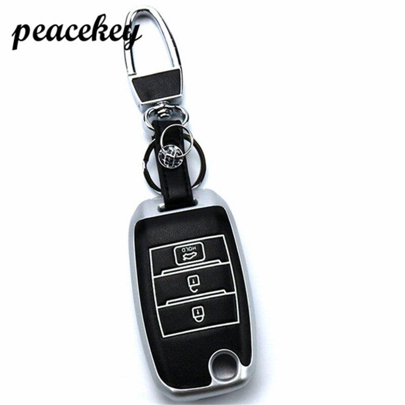 Peacekey couro Genuíno caso capa Para Kia chave do carro adesivos conjunto jaqueta QL Rio Sportage Ceed cerato sorento K2 K3 K4 K5 chave da aleta