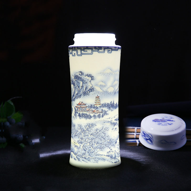 400ML Jingdezhen Blue and White Porcelain Floral Pattern Ceramic Thermal Insulation Tea Travel Water Bottles Wedding Gifts